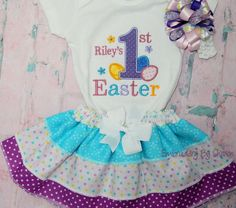 My First Easter Outfit for Girls Personalized with three tiered ruffled skirt and Hair bow Baby Girls first Easter Outfit Bodysuit by EmbroiderybySharon Baby Girls, Easter Outfit For Girls, My First Easter, Bodysuit, Easter Dress, Hair Bows, Girl Outfits, Monogram, Trending Outfits