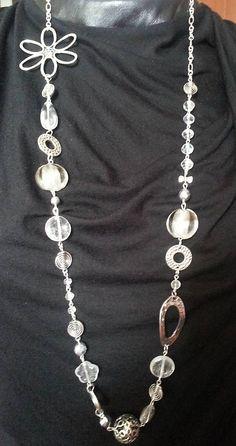 Gennt / dlhý náhrdelník korálky/komponenty v striebornej farbe
