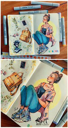 Sketchbook pages by Gretlusky on DeviantArt Marker Kunst, Copic Marker Art, Sketchbook Pages, Arte Sketchbook, Art Inspiration Drawing, Sketchbook Inspiration, Art Drawings Sketches, Cute Drawings, Colorful Drawings