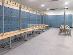 Lockers and benches for school changing rooms Locker Supplies, Pool Changing Rooms, Plastic Lockers, Hotels For Kids, Steel Locker, Storage Design, Steel Doors, Dressing Room, Locker Storage