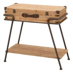 Beech wood accent table with a trunk top and iron framing.Product: Accent table   Construction Material: Solid be...