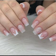 Cute Acrylic Nail Designs, French Nail Designs, Cute Acrylic Nails, Cute Nails, Pretty Nails, My Nails, Manicure E Pedicure, Elegant Nails, Purple Nails