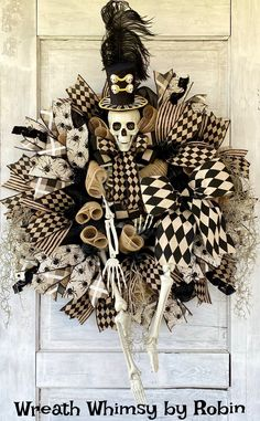 Halloween Wreath, Skeleton Wreath, Fall Wreath, Halloween Decor, Skeleton Decor, Victorian Skeleton, Tan Black Halloween Decor, XL Skeleton Halloween Door, Halloween Skeletons, Fall Halloween, Halloween Ideas, Halloween Wreaths, Halloween Crafts, Halloween Party, Autumn Wreaths, Wreath Fall
