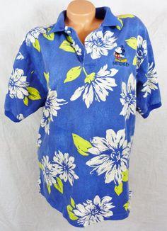 Disney Store Mickey Mouse Hawaiian Print Polo Shirt Large L Blue White Flowers #TheDisneyStore #PoloShirt #Casual