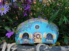 Miniature painted rock cottage for fairy garden by MyPaintedSwan