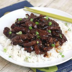 Mongolian Beef -- this version is healthier than the Six Sisters Stuff copycat P.F. Chang's version, and tastes better!