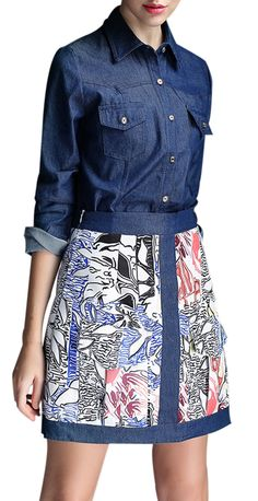 Chambray top + patterned skirt