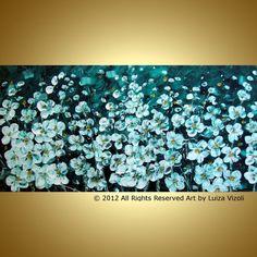 Flowers Modern Impressionist Impasto Oil Painting by LUIZAVIZOLI, $349.00