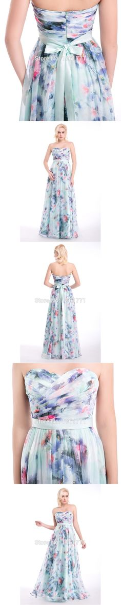 3 Designs Prom Dresses 2017 Spring Summer Flower Pattern Floral Print Chiffon Evening Dress Gowns Party Long Prom dresses Stock