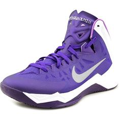 Nike Zoom Hyperquickness Women Basketball Shoes ($95) ❤ liked on Polyvore featuring shoes, athletic shoes, purple, nike shoes, hoops shoes, nike, traction shoes and synthetic shoes