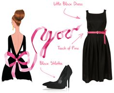 Oooh touch of pink on a LBD and black stilettos. High heels are a must.