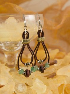 Leather with beads earrings