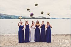 Two birds bridesmaids dresses. Loch Lomond wedding, Scotland – Scotland wedding photographer. Lodge on the Loch.