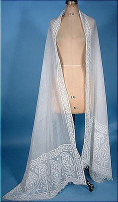 c. 1810 - 1820 Early 19th Century Ayrshire Embroidered Whitework Muslin Stole, Antique Dress Gallery