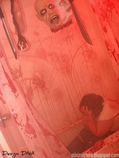 "Haunted House - Rooms # 4 - ""The Bloody Bathroom"" Halloween Birthday, Halloween Themes, Halloween Decorations, Halloween Season, Halloween Face, Halloween Bathroom, Halloween Gender Reveal, Bathroom Mirror Design, Bathroom Ideas"