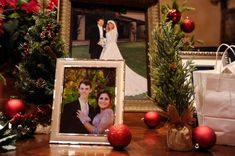 This holiday themed wedding was an absolute dream! They dressed the front table with gorgeous photos of the couple and family wedding photos, garnished with ornaments and mini trees for a full holiday feel. Wedding Venues, Wedding Photos, Wedding Ideas, One Fine Day, Holiday Themes, Gift Table, Guestbook, Green Trees, Siena