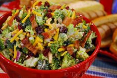 Ingredients: Salad: 5 cups broccoli florets, cut into small pieces 1/2 cup finely chopped red onion 1 cup shredded cheddar cheese 1/2 pound cooked, crumbled bacon 1/2 cup sunflower seeds 1 cup dried cranberries Dressing: 1 cup mayonnaise 2 tablespoons sugar 2 tablespoons red wine vinegar 1/2 teaspoon salt 1/4 teaspoon black pepper Directions: Combine …