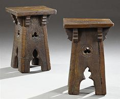 Gothic... Pair of French Provincial Carved Elm Rustic Stools, 19th c., with four tapered pierced trefoil legs