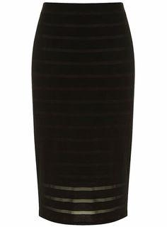 Black stripe burnout skirt at DorothyPerkins