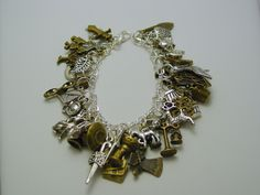 Outlander Ultimate Charm Bracelet 40 Charms with Free Amber Dragonfly Floral Pendant with Compass