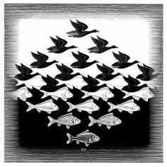 Sky and Water I - MC Escher woodcut on Japan paper Elements And Principles, Elements Of Design, Op Art, Escher Kunst, Mc Escher Art, Escher Tessellations, Tesselations, Illustration, Art Graphique