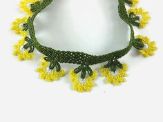 Gift For Mom Yellow Flowers Oya Crochet Necklace Green by Nakkashe
