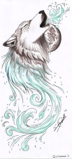 Whilst not keen on wolf tattoos, made me think of maybe a person open mouthed breathing out music... just inspiring.
