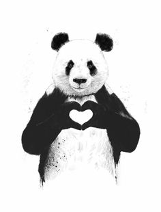 """The Stupell Home Decor Collection 10 in. x 15 in. """"Black and White Panda Bear Making a Heart Ink Illustration"""" by Balazs Solti Wood Wall Art, Multi-Colored Art And Illustration, Illustration Pictures, Love Canvas, Canvas Wall Art, Canvas Prints, Art Prints, Diy Canvas, Painting Canvas, Canvas Totes"""