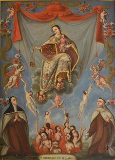 Virgen del Carmen con las ánimas del purgatorio, colección del Museo de Guadalupe, Zacatecas-INAH | Arte Novohispano
