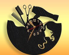 Beauty Salon, Hair Salon Clock, Black Wall Clock 12 inch(30 cm), Personalized, Wall Art Decor, Wooden clock, Modern, Barber Shop, Gift Idea