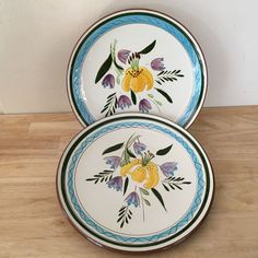 2 Stangl Country Garden w/Tiger Lily & Tulips Salad Plates Hand Painted USA HTF #Stangl