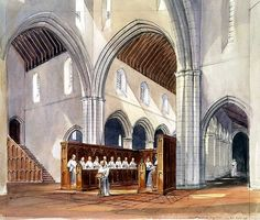 Rendering of monks within the Medieval monastery of Rievaulx Abbey, Yorkshire by Paul Highnam