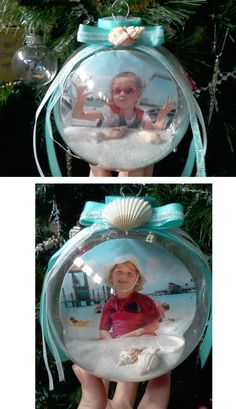 Sand & Beach pictures Christmas globes...no tutorial but looks easy enough to figure out. I'm imagining other themes also - Maybe make one each year representing the family vacation. Each kid could make their own, then when they grow up they'll have awesome mementos of childhood vacations. Maybe we need two Christmas trees.