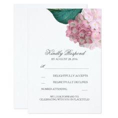 Pink Wedding RSVP Cards Pink Hydrangea Floral Wedding RSVP Cards