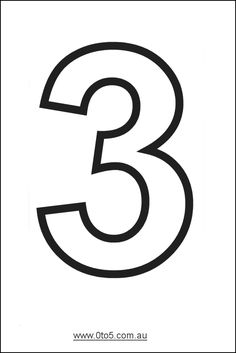 images the number 3 | Number - three printable template