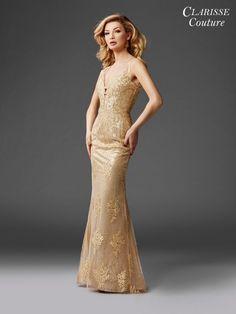 Clarisse - 4961 Embellished Deep V-neck Sheath Dress Short Gold Prom Dresses, Metallic Prom Dresses, Beautiful Prom Dresses, Nice Dresses, Long Dresses, Royal Dresses, Pageant Dresses, Gold Evening Gowns, Evening Dresses