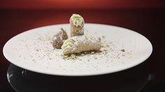Pistachio Cannoli with Dark Chocolate Mousse