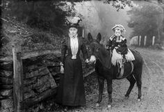 Woman and a child on a donkey (Dickson) circa 1885 #Wales