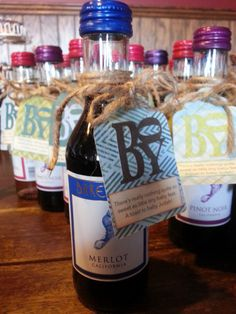 Our #favors for a friend's #babyshower The Barefoot wine was perfect, then we created the poem and tags. #wine