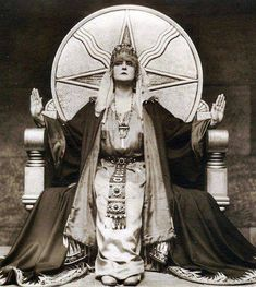 Mia May German Silent Film - Die Herrin Der Welt (The mistress of the world) 1919 She is sitting on a throne with the symbol for Shamash (a native Mesopotamian deity and the Sun god in the Akkadian, Assyrian, Babylonian, and Canaanite pantheons) Wiccan, Witchcraft, Photo Print, Mystique, Fortune Teller, Silent Film, Coven, Vintage Photography, Historical Photos