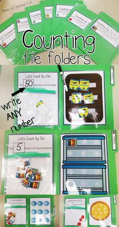 Use a dry erase marker to change up what you have students count to each time! Perfect for all early childhood, autism, and special education classrooms! Counting skills include: 1:1 correspondence, counting by 1s (multiple folders to various amounts), an