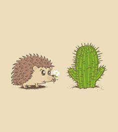 Un tee shirt mignon et amusant avec cette belle déclaration d'amour entre un hérisson et un cactus ! Du 100% laFraise !