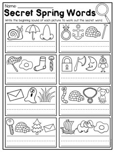Secret spring words worksheet. This Spring Kindergarten Math and Literacy Worksheet Pack features 58 NO PREP worksheets. The pack includes a number of diverse activities relating to beginning sounds, ending sounds, short vowels, long vowels, CVC words, alphabet work, syllables, rhyming, number comparison, counting, tallying, number sense, addition, subtraction, place value, shapes, word problems and so much more!! These worksheets are ideal for review, literacy centers, math centers, phonics…