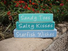 Sandy Toes, Salty Kisses, Starfish Wishes Wood Blocks, Beach, Coastal Decor, Shelf Decor, Mantle Display, Beach Sayings, Beach Quotes by DeannasCraftCottage on Etsy