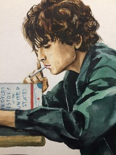 Watercolor Portraits, Watercolor Art, Timothee Chalamet Lady Bird, Painting Inspiration, Art Inspo, Desenhos One Direction, Arte Sketchbook, Art Drawings Sketches, Portrait Sketches