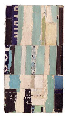 """Lisa Hochstein, Intermezzo-58, 3.5x6.5"""" salvaged paper, collage"""