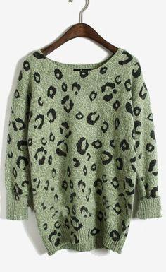 Green Round Neck Long Sleeve Leopard Sweater - Sheinside.com