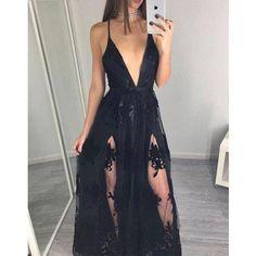 Deep V Neck Sexy Slit Applique Unique Cheap Long Beach Prom Dress, WG732