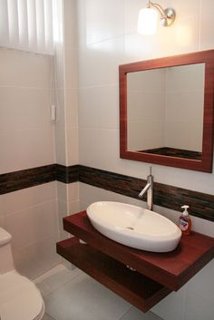 Master bathroom with ikea godmorgon mirrored medicine for Lavamanos modernos con mueble