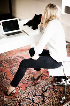 another stylish day on the job - black and white outfit, perfect for feeling put together in your home office